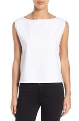 Women's Eileen Fisher Stretch Organic Cotton Bateau Neck Crop Shell White