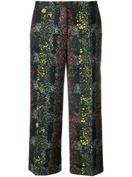 Marco De Vincenzo Floral Print Cropped Trousers Black