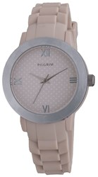 Pilgrim Pretty Silver Plated And Brown Watch Brown