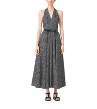 Michael Kors Crosshatch Print Cotton Poplin Halter Dress Optic White Blk