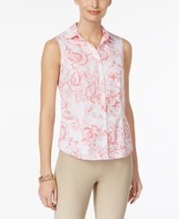 Charter Club Sleeveless Print Shirt Only At Macy's Glamour Pink Combo