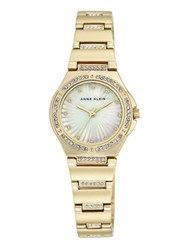 Anne Klein Swarovski Crystal Studded Mother Of Pearl Dial Bracelet Watch Gold