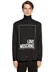Love Moschino Outlined Logo Print Stretch Cotton Shirt