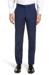 Ted Baker London Jerome Flat Front Solid Wool And Cotton Trousers Blue