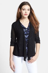 Petite Women's Nic Zoe '4 Way' Convertible Long Sleeve Cardigan Black Onyx