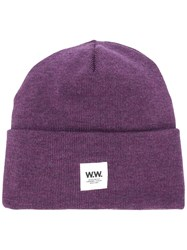 Wood Wood Ribbed Logo Patch Beanie Pink And Purple