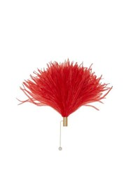 Hillier Bartley Gold Plated Ostrich Feather Brooch Red