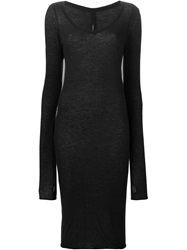 Isabel Benenato V Neck Fitted Sweater Dress Black