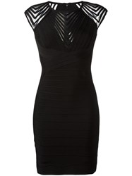 Herve Leger Zig Zag Trim Dress Black