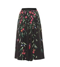 Carolina Herrera Floral Stretch Cotton Midi Skirt Black