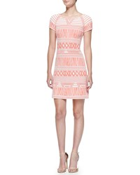 Yoana Baraschi Short Sleeve Modern Tribe Print Dress Coral White