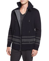 Vince Striped Double Breasted Peacoat Navy Women's