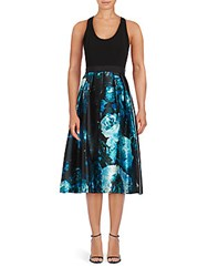 Carmen Marc Valvo Fit And Flare Floral Print Dress Black Turquoise