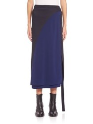 Cedric Charlier Colorblock Wrap Midi Skirt Black Navy