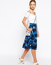 The Laden Showroom X Meekat Leaf Print Skirt Blue