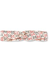 Gucci Printed Twisted Duchesse Silk Satin Headband Off White