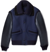 Burberry Shearling Trimmed Leather And Wool Blend Bomber Jacket Blue