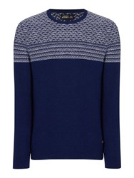 Army And Navy Barberry Pattern Crew Neck Jumper Marine