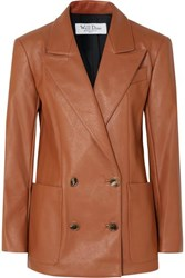 We11done Double Breasted Faux Leather Blazer Tan