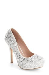 Lauren Lorraine Women's Bonny Crystal Embellished Platform Pump White