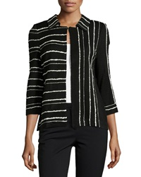 Misook Three Quarter Sleeve Stripe Cardigan Black White