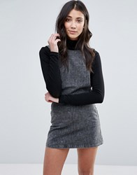 Neon Rose Pinstripe Denim Pinny Dress Grey