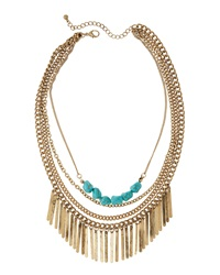 Panacea Tiered Bib Fringe Necklace Turquoise