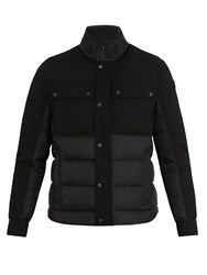 Moncler Decroux Contrast Panel Quilted Down Coat Black