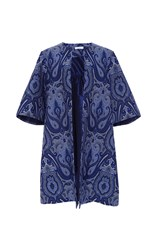 Elizabeth Kennedy Ottoman Paisley Evening Coat Blue