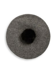 Collection 18 Faux Fur Pom Beret Heather Grey