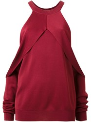 Dion Lee Draped Cut Out Sleeve Sweater Red