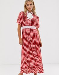 f170424eaf0 Sister Jane Midaxi Dress With Ladybird Embellished Pussybow In Grid Check  Red