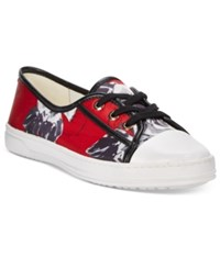 Anne Klein Zagger Lace Up Sneakers Red Floral