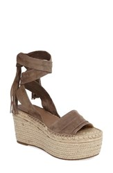 Marc Fisher Women's Fischer Ltd Rabecca Lace Up Platform Wedge Taupe Suede