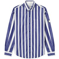 Neighborhood Luker By Stripe Shirt Blue