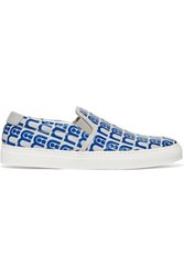 Anya Hindmarch Skater Mothercare Embossed Leather Slip On Sneakers Blue