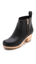 Swedish Hasbeens Zip It Emy Clog Bootie Black