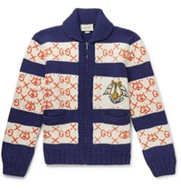 Gucci Intarsia Wool Bomber Jacket Blue
