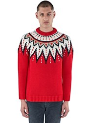 Saint Laurent Fair Isle Sequin Thick Knitted Sweater Red