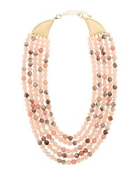 Lydell Nyc Short Multi Row Semiprecious Beaded Necklace Pink