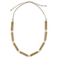 John Lewis Wooden Rectangle Necklace Brown Cream