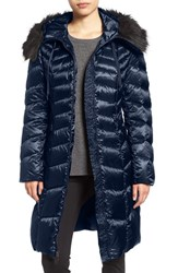 Tahari Women's Emma Quilted Down And Feather Coat With Faux Fur Trim Nightfall