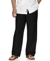 Cubavera Big And Tall Pants Drawstring Linen Blend Pants Black