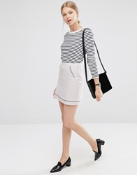 Asos A Line Skirt With Piping Detail Silver Grey
