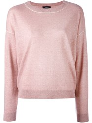 Theory Crew Neck Jumper Women Linen Flax Cashmere Wool L Pink Purple