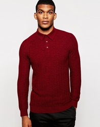 Reiss Long Sleeve Knitted Polo Shirt With Textured Jacquard Bordeaux