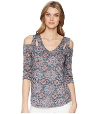 Tribal Printed Burnout 3 4 Sleeve Cold Shoulder Top Hi Pink Clothing