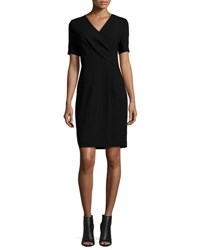 Elie Tahari Deandra Short Sleeve Crepe Sheath Dress Black