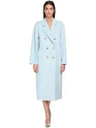 Max Mara Double Breasted Cashmere Coat Light Blue