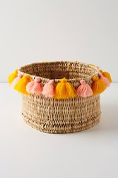 Anthropologie Tasseled Basket Peach